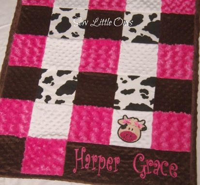 Custom Made Hot Pink And White Cow Print Patchwork Baby Blanket