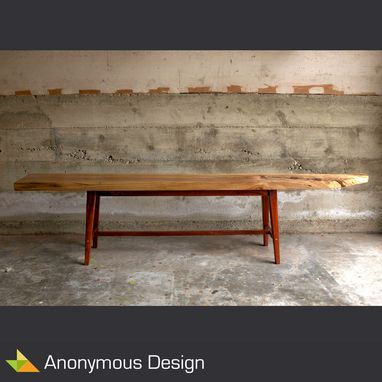 Custom Made Reclaimed Slab Sycamore Bench
