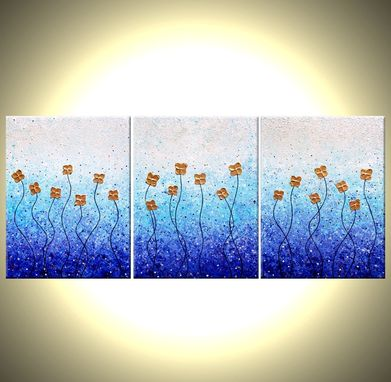 Custom Made Original Large Abstract Painting Contemporary Impasto Flowers. White Blue Gold Floral Art 24 X 54