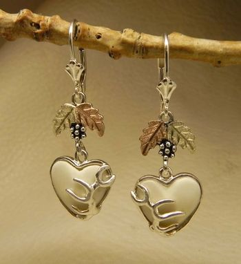 Custom Made Black Hills Gold On Silver Heart Shape Elk Ivory Earring