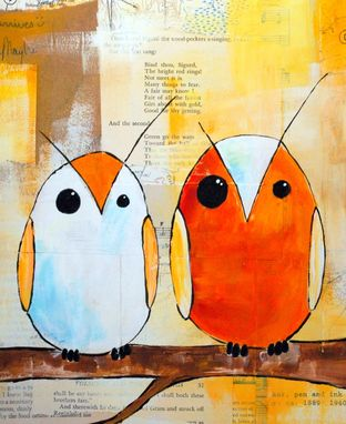 Custom Made Two Orange Owls- Orange And White