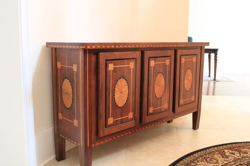 Custom Made Entry Way Console Table- Walnut With Inlaid Maple And Oak
