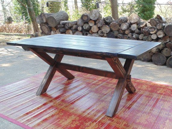 Custom made reclaimed wood farmhouse crossed leg trestle for Farmhouse table plans with x legs