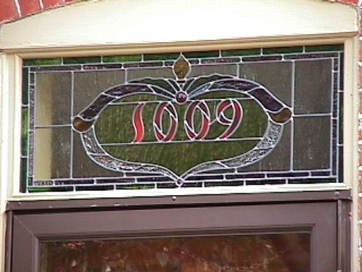 Custom Made Address Number Transom Stained And Leaded Glass Window