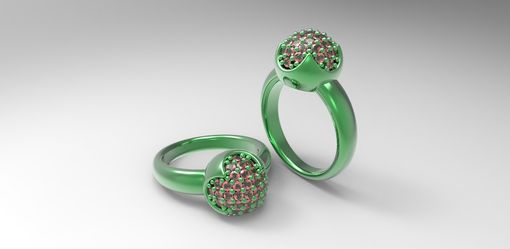 Custom Made 14k Green Gold Orb Ring With Rubies