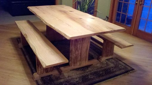 Custom Made Red Oak Live Edge Dining Table And Benches