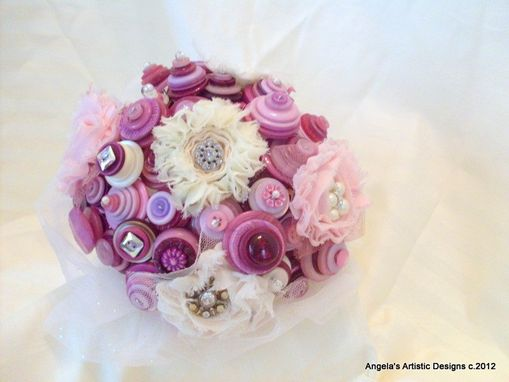 Custom Made Bridal Bouquet With Lavender Buttons