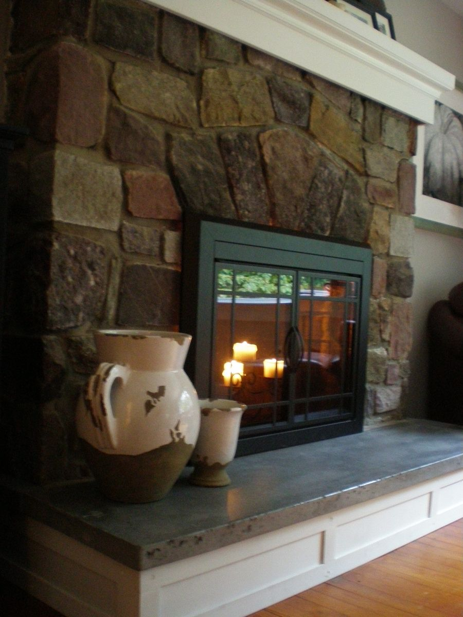 Handmade concrete hearth and custom mantel by northeast for Concrete mantels and hearths