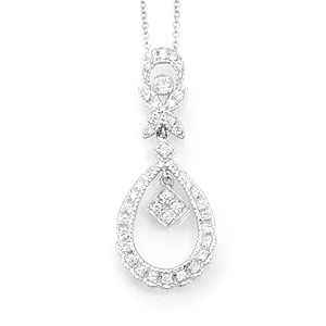 Custom Made Victorian Diamond Pendant In 14k White Gold, Diamond Pendant, Ladies Pendant
