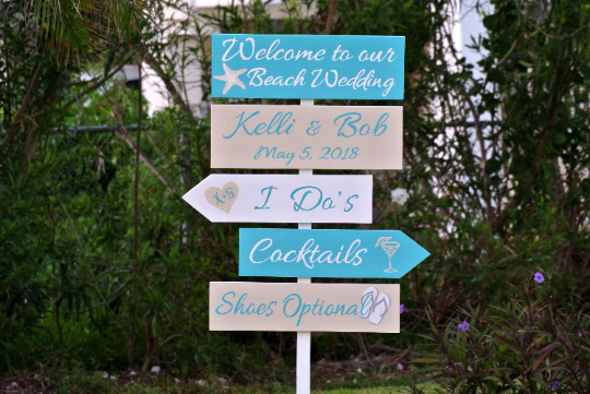 Custom Made Beach Wedding Welcome Sign Turquoise Tropical Direction Signs