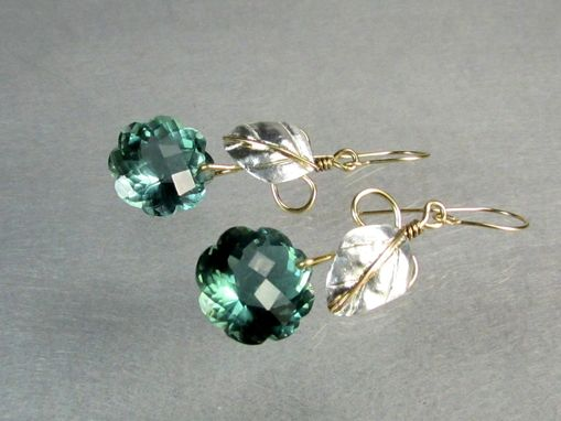 Custom Made Green Lab Created Amethyst And Silver Leaves Gold Filled Wire Earrings