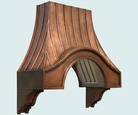 Custom Made Copper Range Hood With Corbels & Angled Filters