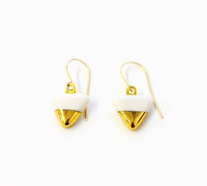 Custom Made Gold Dipped Pennant Flags - Porcelain Jewelry Earrings Dangle Earrings