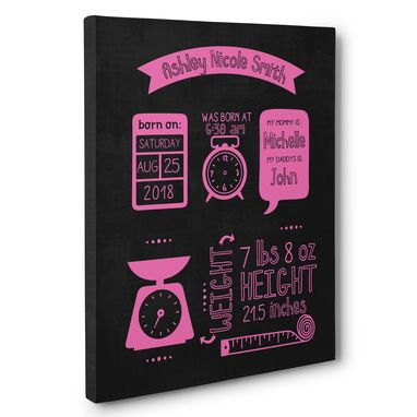 Custom Made Modern Chalkboard Milestone Birthday Stats Photo Prop Canvas Wall Art