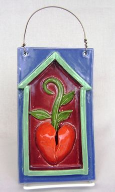 Custom Made Heart Bud Ceramic House Plaque