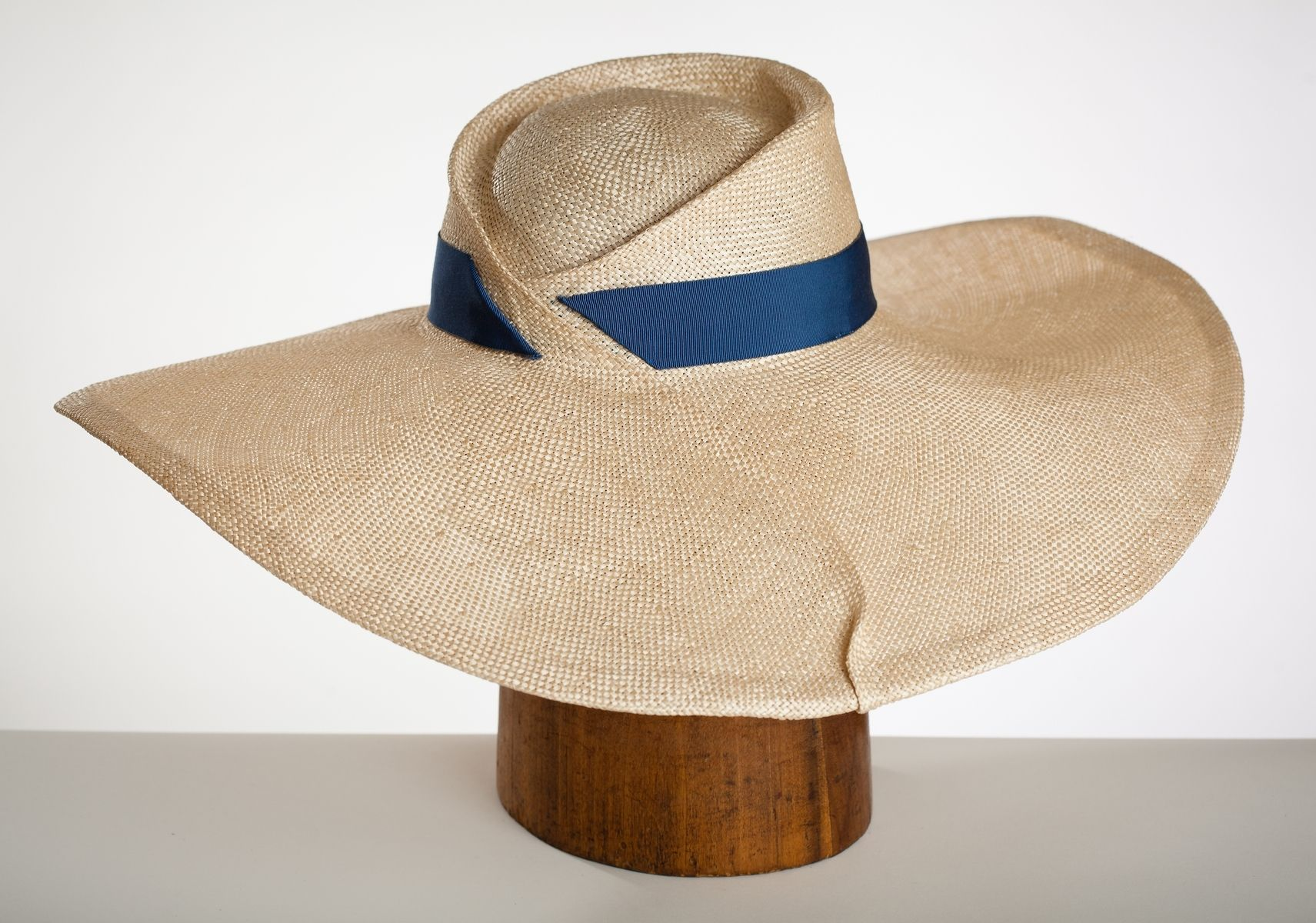 Hand Made Elegant Large Brimmed Straw Hat  Gatsby  by Corina Haywood ... 1227c0adc956