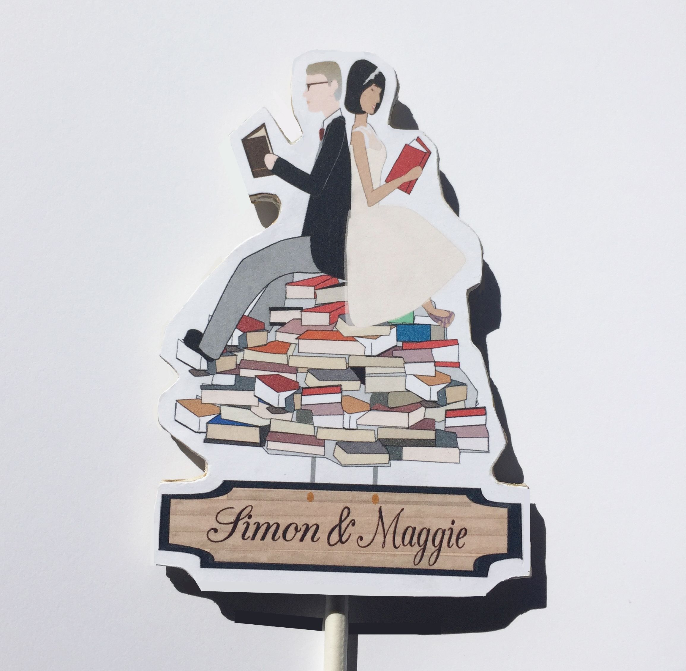 hand crafted custom wedding cake topper book lovers