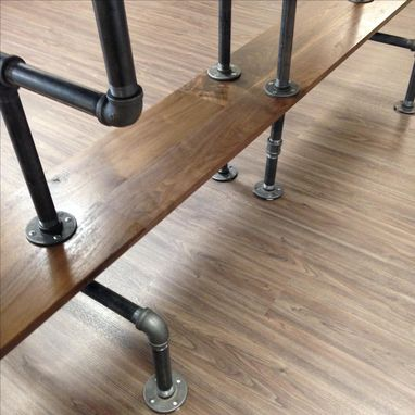 Custom Made Solid Sappy And Figured Walnut Conference Table With Iron Bar Legs