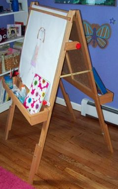 Custom Made Children's Adjustable Easel And Art Center