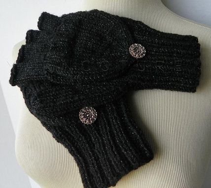 Custom Made Handknit Scarf And Convertible Fingerless Mittens Set