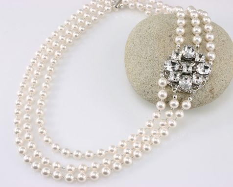 Custom Made Vintage Style Wedding Necklace, Multistrand Pearls And Rhinestones, Swarovski Elements Crystals, Statement Bridal Necklace