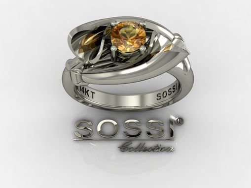 Custom Made 14 Kt White Gold Yellow Diamond Lily Ring