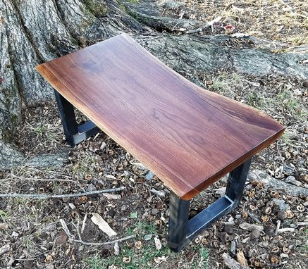 Custom Made Walnut Coffee Table- Live Edge Table- Dark Wooden Coffee Table- U Shape Legs- Modern