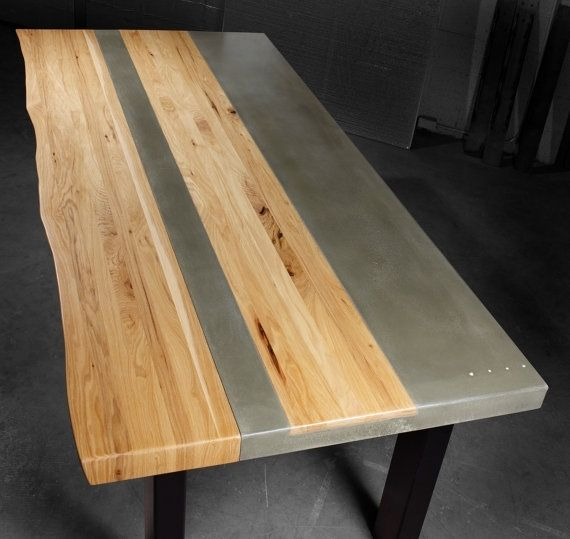 Hand made concrete wood steel dining kitchen table by tao concrete Concrete and wood furniture