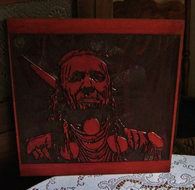 Custom Made Native American Indian Handmade Wood Carving Wall Art - White Man Runs Him