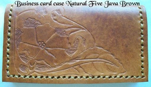 Custom Made Custom Leather Business Card Case With Natural 5 Design In Java Brown Color