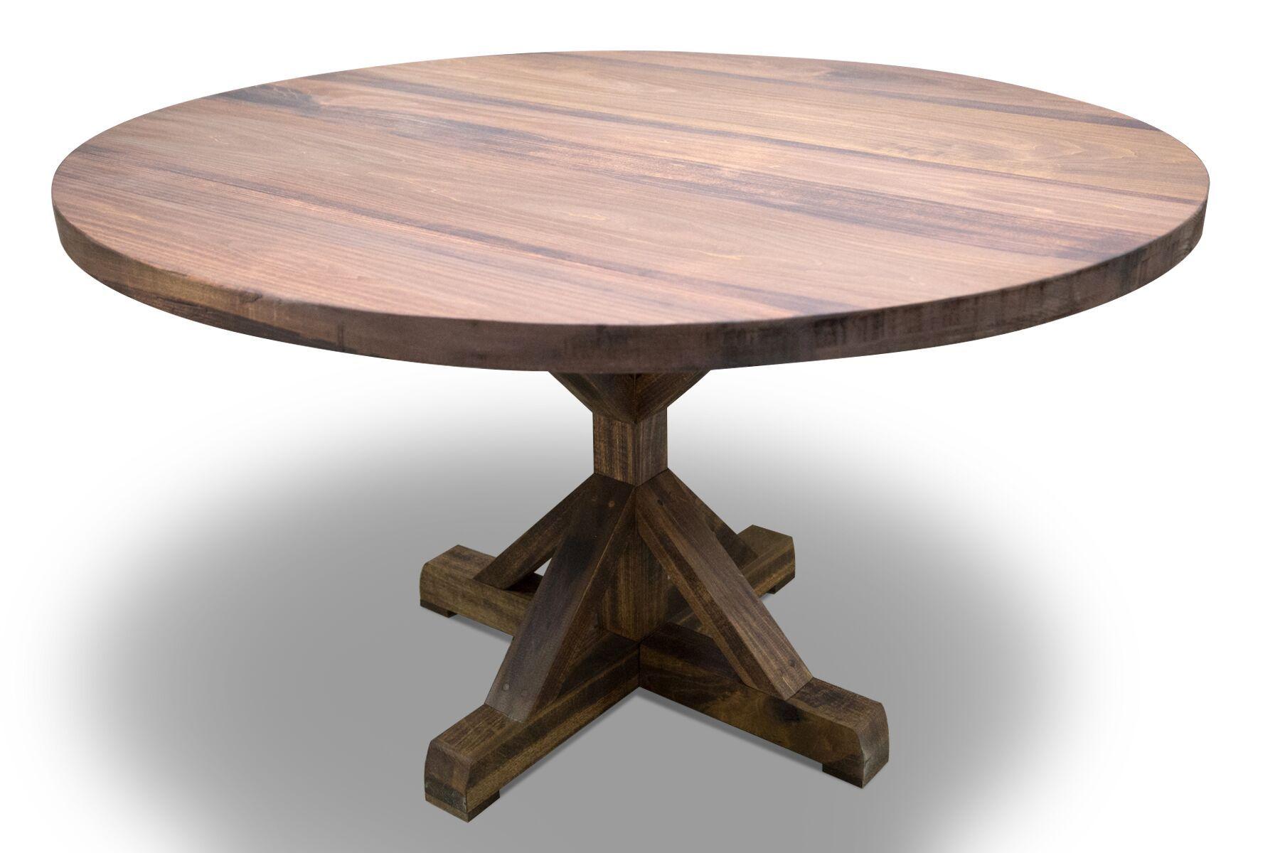 Custom made round pedestal farmhouse dining table by the for Large round farmhouse dining table