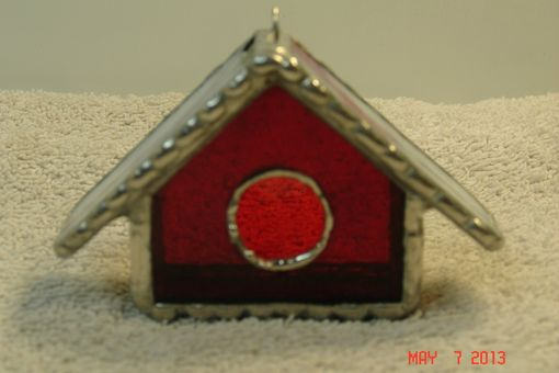 Custom Made Empty Nest Bird House Ornament In Classic Red With Creamy Pink Swirled Roof