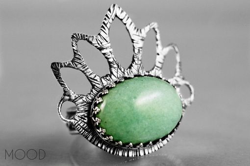 Custom Made Ruffled Petals - Ooak Green Aventurine Gemstone Ring In Argenitium Sterling Silver - Size 8.5