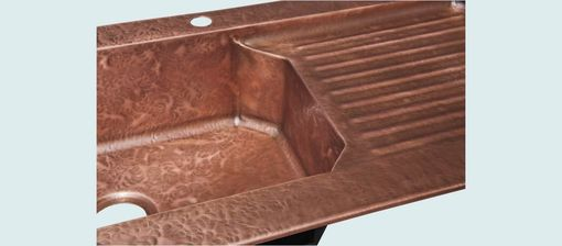 Custom Made Copper Sink With Drainboard & Ray's Hammering