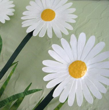 Custom Made Handmade Upcycled Metal Daisies Wall Art Sculpture