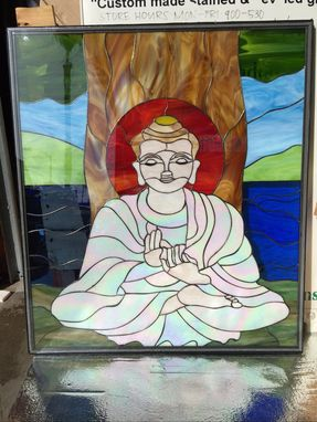Custom Made Electrified Iridescent Buddha Stained Glass Window Panel