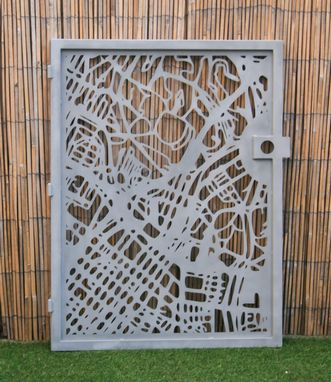 Custom Made Modern Steel Gate - Los Angeles - City Street Gate - Decorative Steel Panel - Urban Art Panel