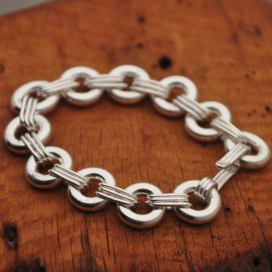 Custom Made Large Sterling Silver Triple Link Bracelet