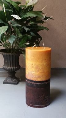 Custom Made Giant Sandalwood Pillar Candle, Ivory And Brown 8