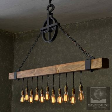 Custom Made The Dunsmuir – Wood Beam Chandelier With Vintage Style Edison Bulbs