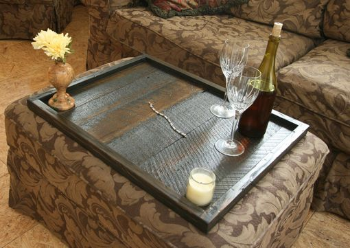 Custom Made Distressed To Impress! Modern Rustic Oversized Ottoman Tray Table Top Serving Breakfast Tray