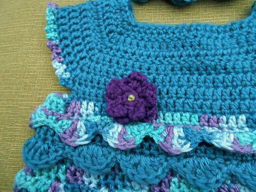 Custom Made Turquoise Ruffles Top And Hat With Purple Flowers For 3-6 Months Old