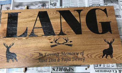 Custom Made Last Name, Date Established, Cabin Graphic, In Memory Of, Cabin Decor Sign