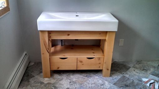 Custom Made Porcelain Top Knotty Pine Vanity