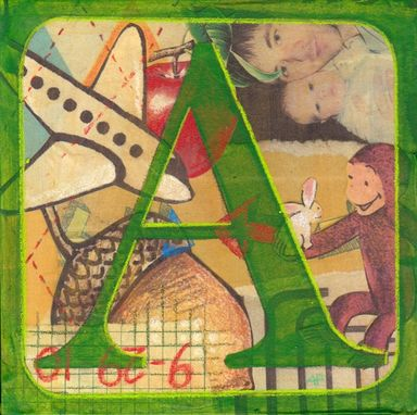 "Custom Made Monogram Trio Boy-- 6"" X 6"" Alphabet Block Mixed Media Paintings"