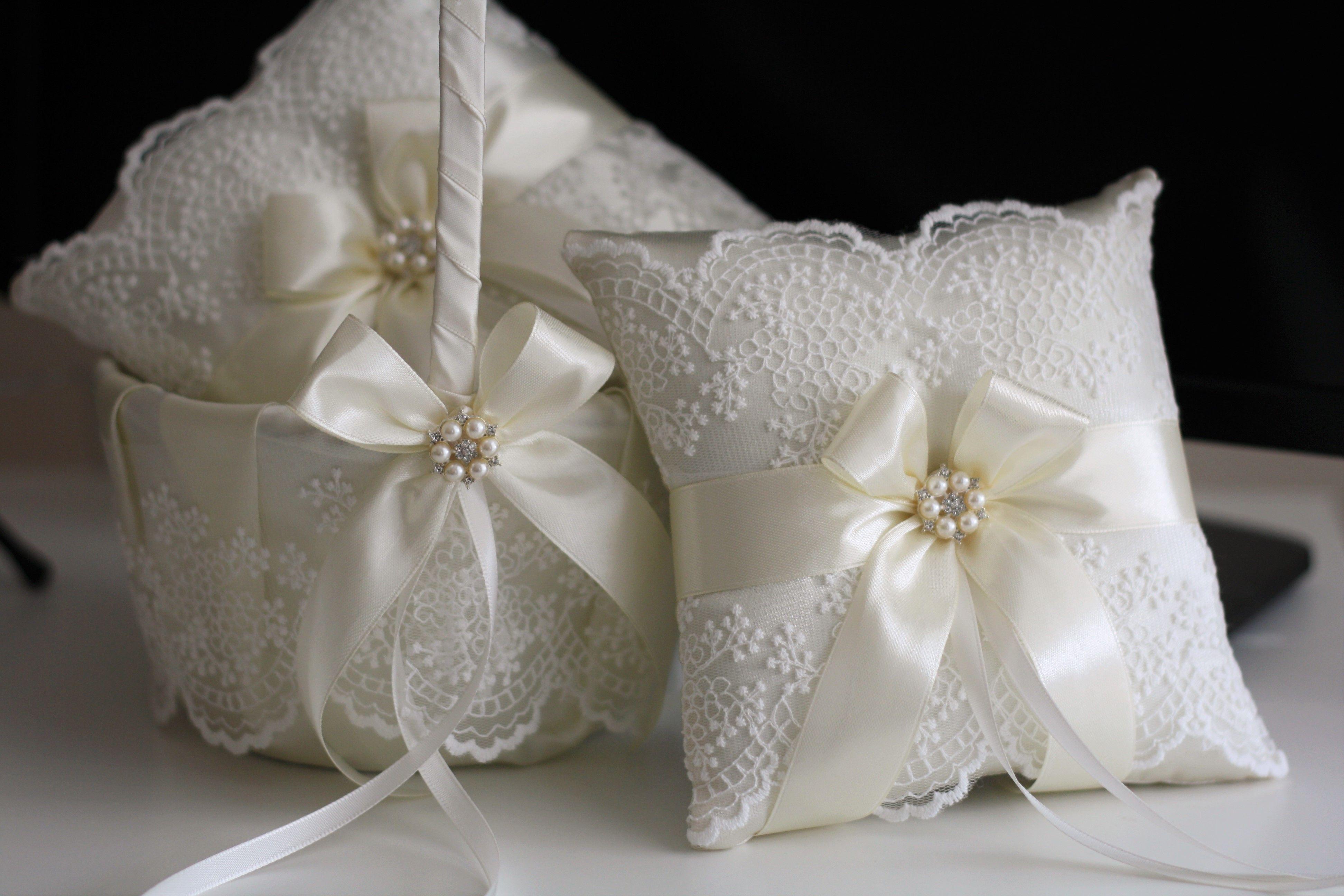 Buy a Handmade Ivory Lace Flower Girl Basket And Ring Bearer