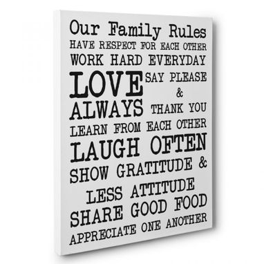 Custom Made Our Family Rules Canvas Wall Art