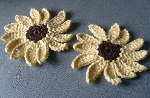 Custom Made Crocheted Sunflower Embellishments / In Yellow And Brown