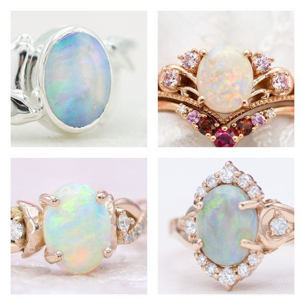 White opals displaying a variety of colors in four engagement rings.