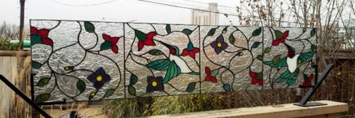"Custom Made Stained Glass Transom Window - ""The Dance Of The Hummingbirds"" (Tw-36)"